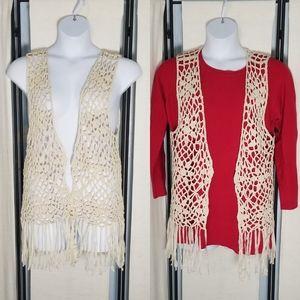 NWT Absolute Angel ivory crochet fringe vest 1X